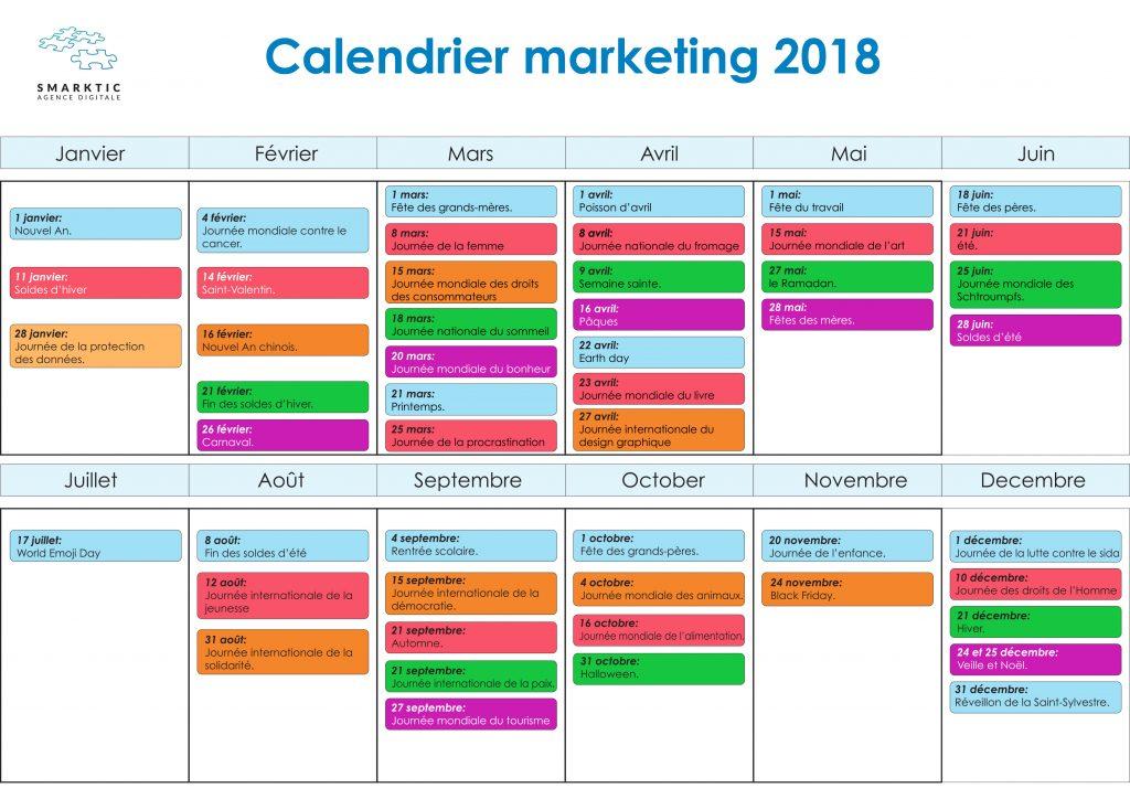 Calendrier Marketing 2018 événements